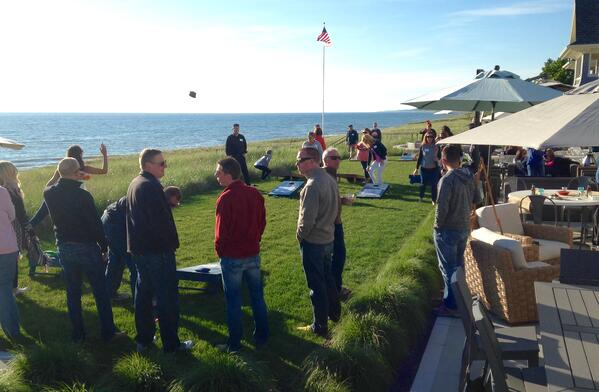 Corn hole tournament on Lake Michigan