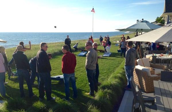 Corn hole tournament on Lake Michigan