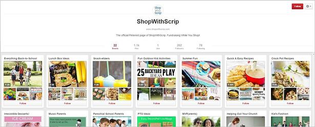 ShopWithScrip Pinterest Homepage