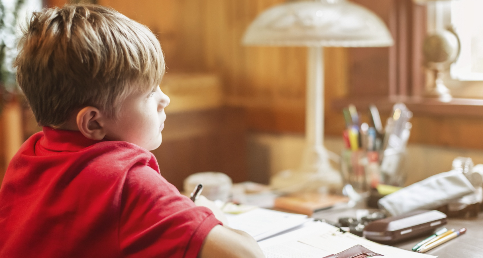 Boy doing homework looking outside