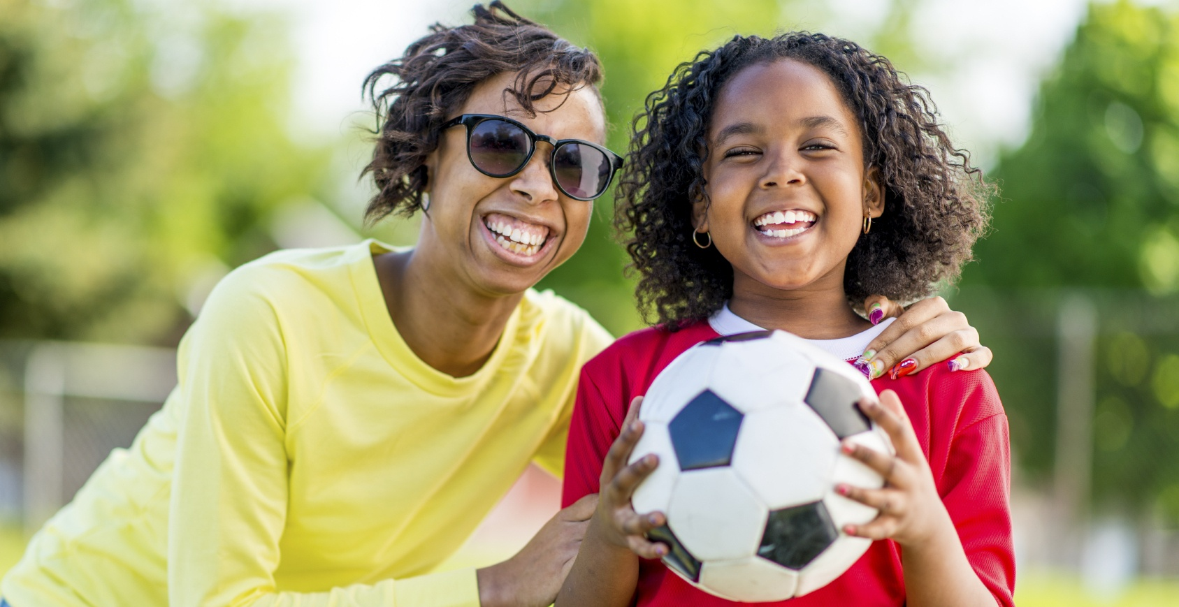 Mom and daughter at soccer