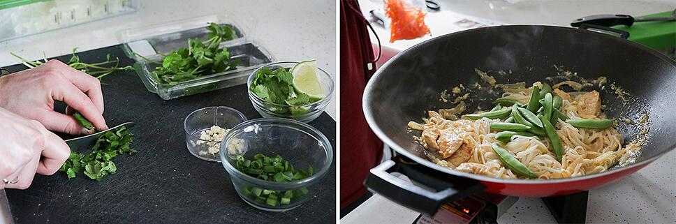 chopping cilantro on the left and adding sugar snap peas to the wok on the right