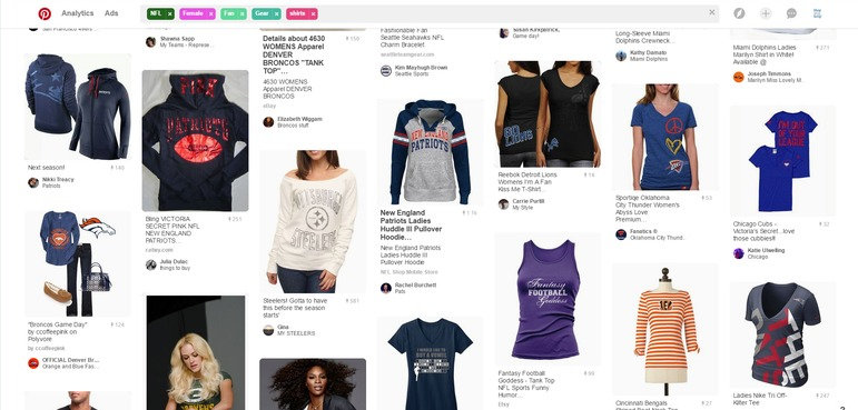 Pinterest search results for female NFL fan attire