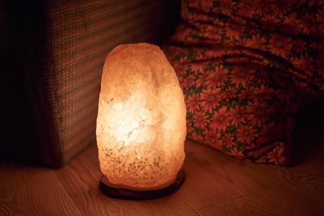 Illuminated Himalayan salt lamp