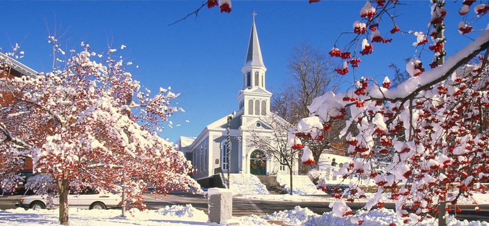 Smaller church on a snowy morning