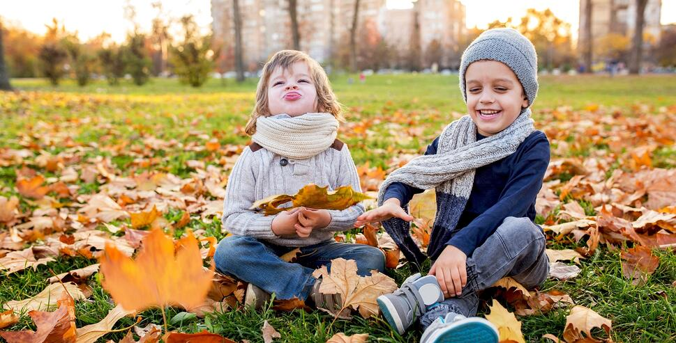 two little boys playing in fall leaves in a park