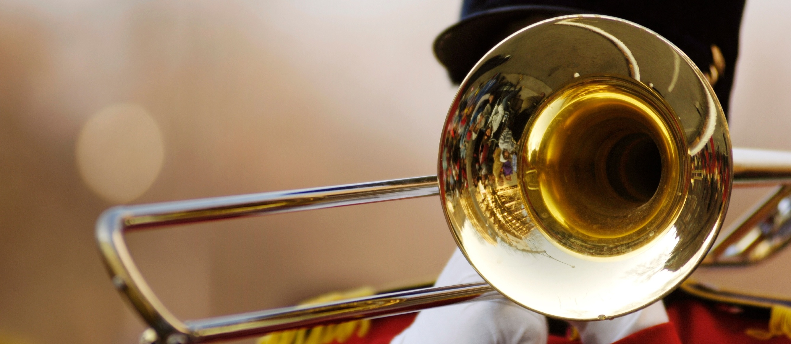 trombone player in a marching band