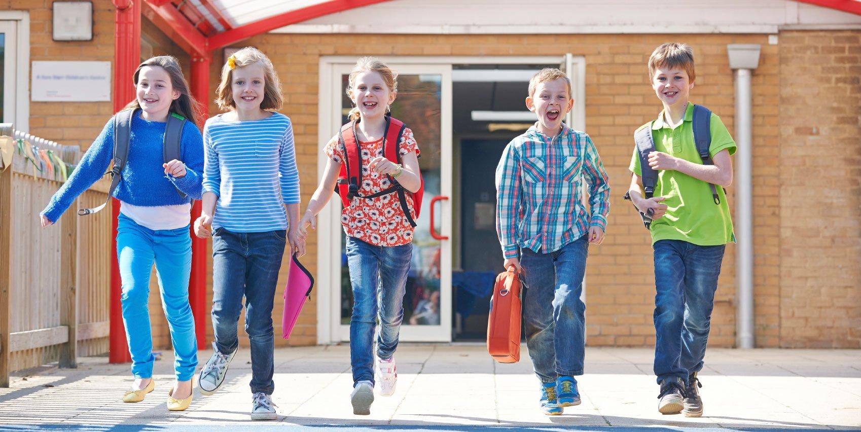 Kids happily leaving school