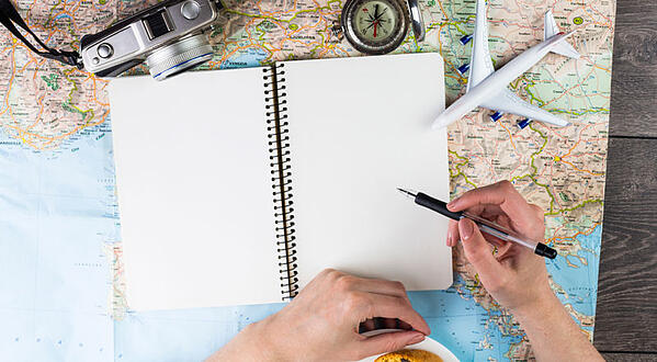 Woman planning a trip
